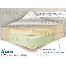 "Siesta Memory Foam Mattress 7"" Twin"