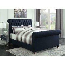 Gresham Navy Blue Upholstered Full Bed