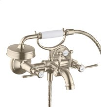 Brushed Nickel 2-handle bath mixer for exposed installation with lever handles