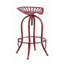 Traditional Antique Red Adjustable Bar Stool
