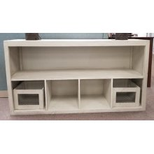 "Lagos 65"" Basket TV Stand- White (No Baskets included)"