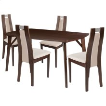 5 Piece Espresso Wood Dining Table Set with Curved Slat Wood Dining Chairs - Padded Seats