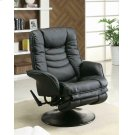 Casual Black Faux Leather Swivel Recliner Product Image