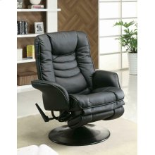 Casual Black Faux Leather Swivel Recliner