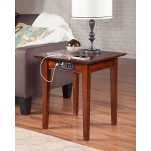 Shaker End Table with Charger Walnut
