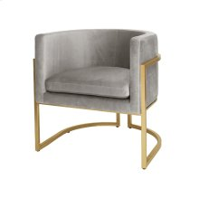Gold Leaf Frame Barrel Arm Chair In Grey Velvet Seat Heigh 20.5""