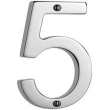 """Antique Brass Unlacquered Door numeral """"5"""""""