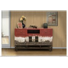 2 Drawer, 4 Door, TV Stand Red Finish