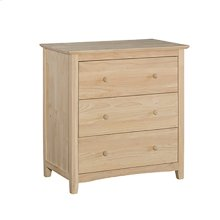 BD-7003 Lancaster 3-Drawer Chest. Solid wood panel sides & full extension drawer glides
