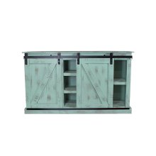 Barn Door Aqua Green Plasma TV Stand