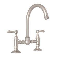Satin Nickel Italian Kitchen San Julio Deck Mount C-Spout Bridge Kitchen Faucet with Metal Lever