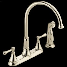 Polished Nickel Two Handle Kitchen Faucet with Spray