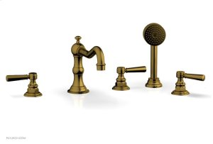 HENRI Deck Tub Set with Hand Shower with Lever Handles 161-49 - French Brass Product Image