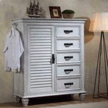 Franco Antique White Chest With Louvered Panel Door