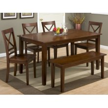 Simplicity Caramel Rectangle Dining Table With Four X Back Dining Chairs
