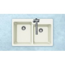 Quartztone M-175 Cloud Topmount 60/40 Double Bowl Cloud