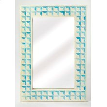 Beautify any space ™ be it a bedroom, living room, or entryway ™ with this elegant wall mirror. Crafted from resin and wood products, it features individually hand-cut bone inlays arranged in a repeating square pattern with blue-dyed sections resembli