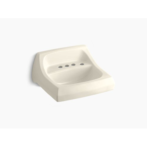"""Almond 21-1/4"""" X 18-1/8"""" Wall-mount/concealed Arm Carrier Bathroom Sink With 4"""" Centerset Faucet Holes and Right-hand Soap Dispenser Hole"""