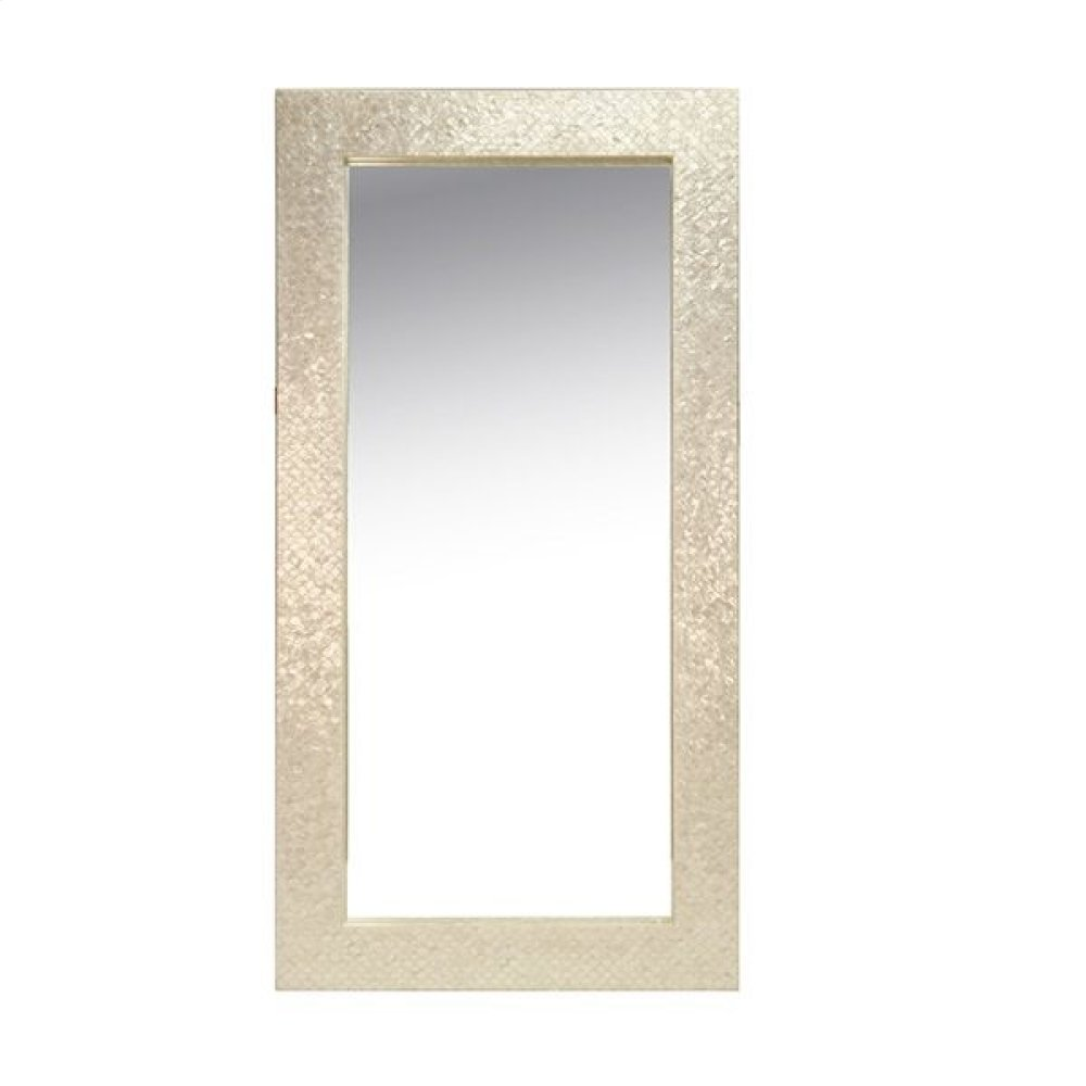 Rectangle Floor Mirror With Fish Scale Pearlized Capiz Frame