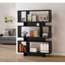 Contemporary Cappuccino Geometric Bookcase
