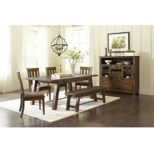Cannon Valley Trestle Table With 4 Chairs and Bench