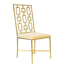 """Gold Leaf Dining Chair W. Beige Velvet Seat Seat Height - 18.5"""""""