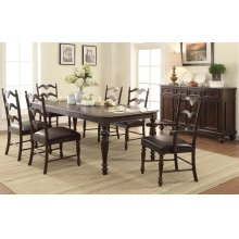 "7PC SET (86"" Leg Table with 4 Side Chairs and 2 Arm Chairs)"