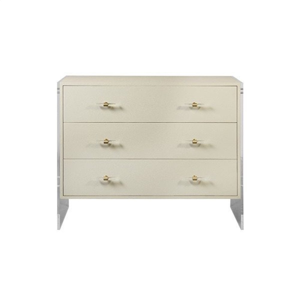 Three Drawer Chest With Acrylic Sides In Cream Faux Shagreen