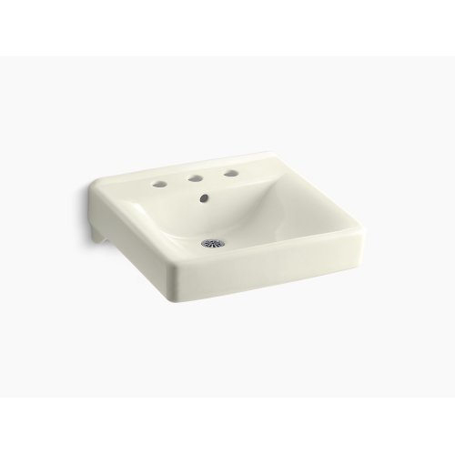 """Biscuit 20"""" X 18"""" Wall-mount/concealed Arm Carrier Bathroom Sink With 8"""" Widespread Faucet Holes"""