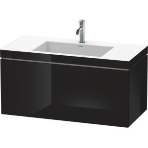 Furniture Washbasin C-bonded With Vanity Wall-mounted, Black High Gloss Lacquer