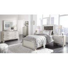 Lonnix - Silver Finish Twin Bedroom Set: Twin Bed, Nightstand, Dresser & Mirror