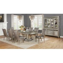 Danette Metallic Five-piece Double Pedestal Dining Set