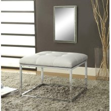 Contemporary White and Chrome Ottoman
