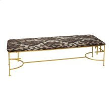 """60""""l Hammered Gold Leaf Bench With P05/ikat Upholstery"""