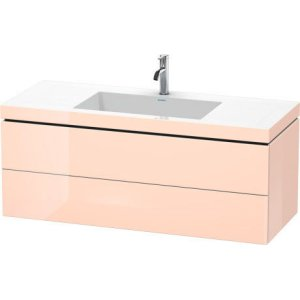Furniture Washbasin C-bonded With Vanity Wall-mounted, Apricot Pearl High Gloss Lacquer