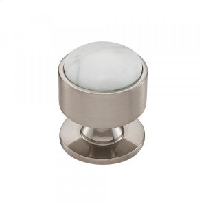 Firesky Carrara White Knob 1 3/8 Inch Brushed Satin Nickel Product Image