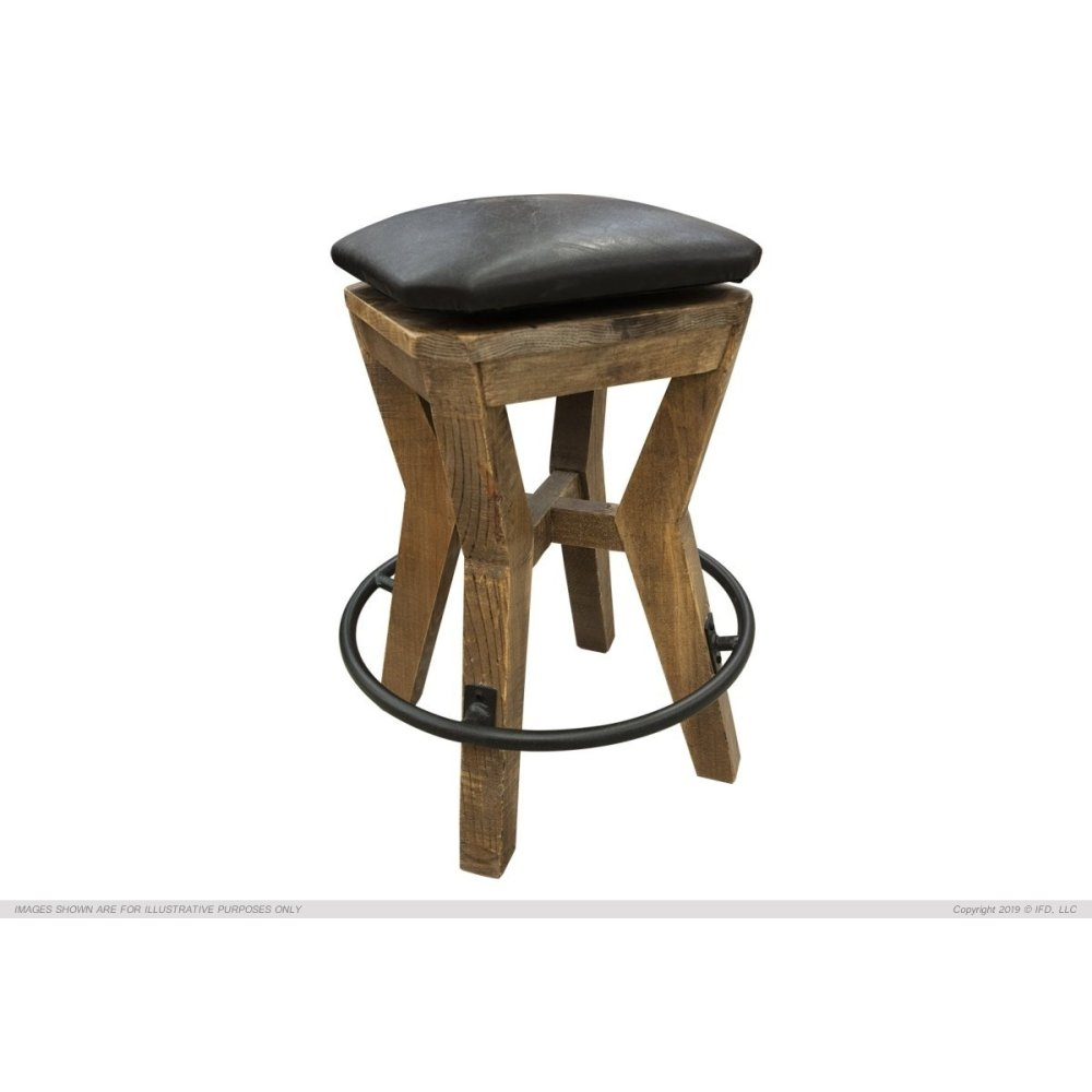 "24"" Height Wooden Stool w/ faux leather"