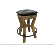 """24"""" Height Wooden Stool w/ faux leather"""