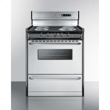 "Deluxe 220v Electric Range With Stainless Steel Doors, Clock/timer, and Oven Window With Light In 30"" Width"