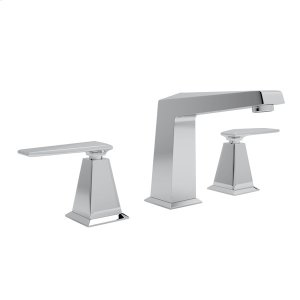 Polished Chrome Vincent High Neck Widespread Lavatory Faucet with Metal Lever Product Image