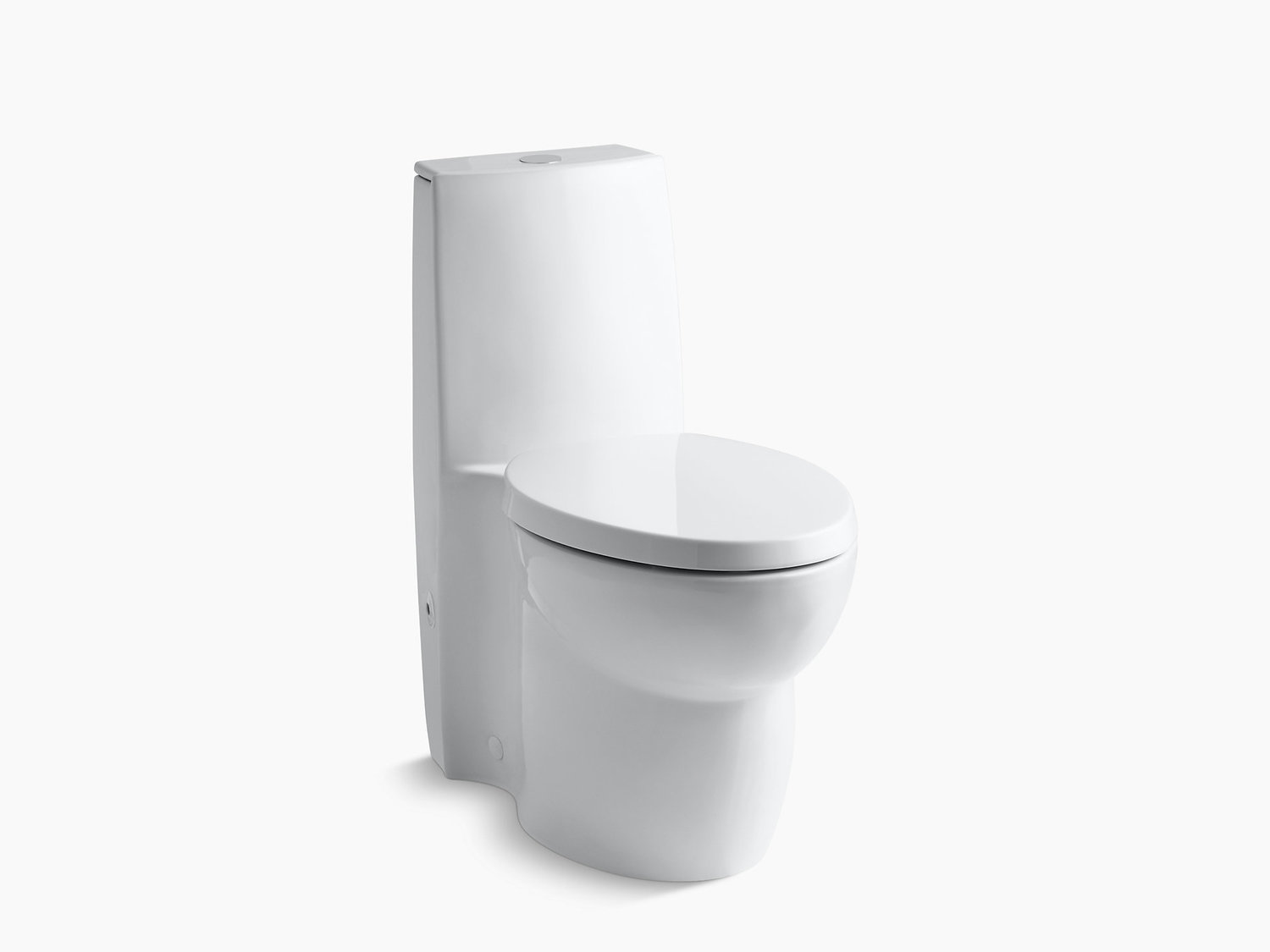 White Skirted One-piece Elongated Dual-flush Toilet With Top Actuator and Saile Quiet-close Toilet Seat With Quick-release Functionality