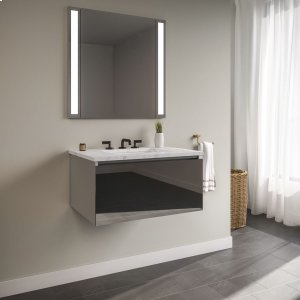 """Curated Cartesian 24"""" X 15"""" X 21"""" Single Drawer Vanity In Tinted Gray Mirror Glass With Slow-close Plumbing Drawer and Engineered Stone 25"""" Vanity Top In Silestone Lyra Product Image"""