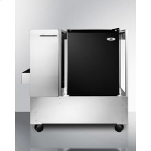 Outdoor Stainless Steel Cart Designed To Accept Compact Refrigerators