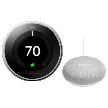 Thermostat Polished Steel With Google Mini White