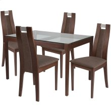5 Piece Walnut Wood Dining Table Set with Glass Top and Curved Slat Wood Dining Chairs - Padded Seats