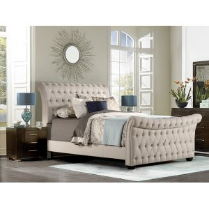 Richmond Queen Bed, Linen Stone