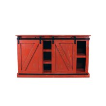 Barn Door Red Plasma TV Stand