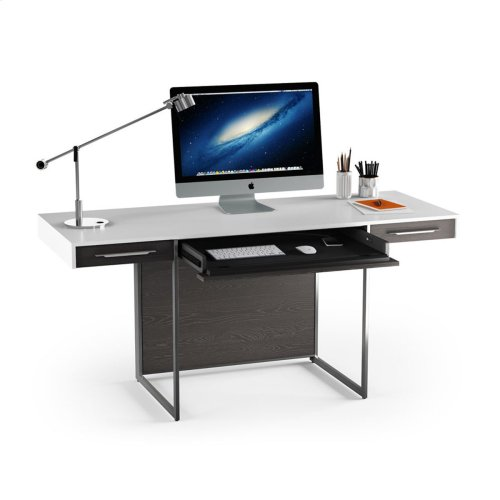 Desk 6301 in Charcoal Stained Ash Satin White