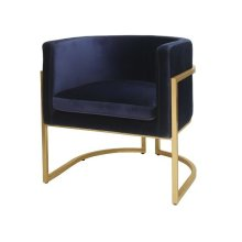 Gold Leaf Frame Barrel Arm Chair In Navy Velvet Seat Heigh 20.5""