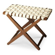 This sleek luggage rack combines good looks with function. It is expertly handcrafted from birch wood solids white leather straps in a basket-weave pattern.